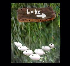 Wood Lake or Beach sign,Fish Windchime, Silverware Wind Chime, Custom Family Sign, Name Sign, Personalized Sign, House Numbers, Porch Decor by NevaStarr on Etsy https://www.etsy.com/listing/178133572/wood-lake-or-beach-signfish-windchime