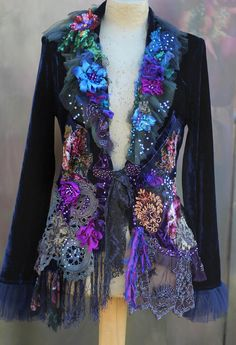 Midnight muse jacket bohemian romantic altered couture