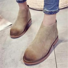 US $14.99 Kwan Women's Shoes Suede Back Zipper Flat Heels Ankle Boots Booties Casual Khaki