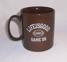 Life Is Good Football Game On Mug Coffee Cup Brown Sports Large #LifeIsGood