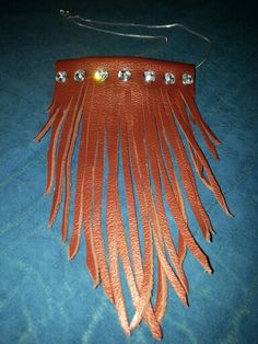 Leather Fringe Necklace with Swarovski crystals