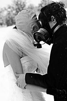 For those enamored by the notion of a dystopian post-apocalyptic world, a special treat by Archikos: the gas mask face-rub. #LELOBridal #wedding