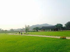 Beautiful, calm, peaceful nature. Feel green grass.  Korean traditional palace.