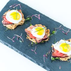Treeline Catering - spring 2014  - we're offering this as an alternative on our late snack menus, and of course our H-D menus.  Potato latke, quails egg, Berkshire double thick bacon