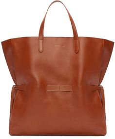 Jil Sander Tan Leather Lace Shopper Tote