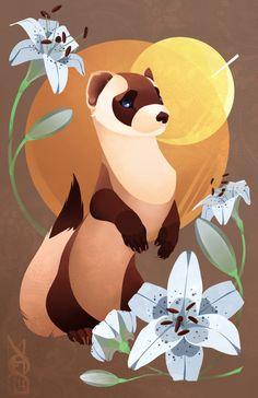Ferrets and flowers~ Cute Animal Drawings, Animal Sketches, Cool Drawings, Cute Drawlings, Cute Art, Funny Ferrets, Wildlife Art, Pretty Art, Cool Artwork