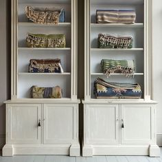 Swedish kilims in our Regency style #madebyhowe Lion Mask bookcases. Can be made in Douglas fir or European oak in the finish & size of your choice