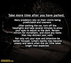 safety tips take time after parking