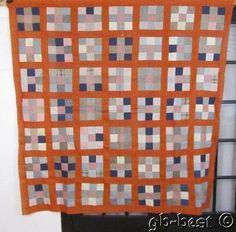 Primitive PA 1900s Nine Patch Antique Quilt Top 75 x 74 Indigo Blue Shirting | eBay