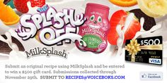 If you like a challenge and want to show off your skills and ability to make a fantastic recipe, then please do share! We'd love to know if you can add #MilkSplashRecipes into it! Win $500!