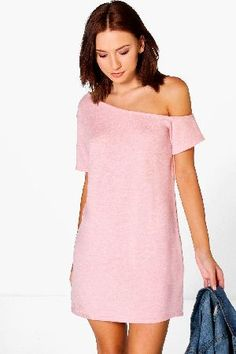990d589a616c boohoo Knitted Off The Shoulder Slouchy Dress - nude Pared back day dresses  are the perfect