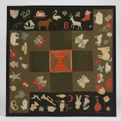 Pictorial Baby Quilt - Ohio, dated 1896    Wool fabric