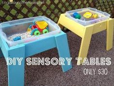 DIY Sensory Tables, hold plastic bins ... Use beans or sand or water , with colorful toys.   Great indoor/outdoor fun!! by lana