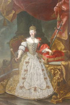 1743-1745 Maria Theresia of Hungary and Bohemia, Empress Consort of the Holy Roman Empire in Hungarian coronation robes by Daniel Schmiddeli