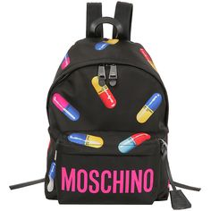 Moschino Nylon Backpack With Multicolor Pills (26,335 PHP) ❤ liked on Polyvore featuring bags, backpacks, black, moschino bags, moschino backpack, multi color backpack, multi colored backpacks and colorful bags