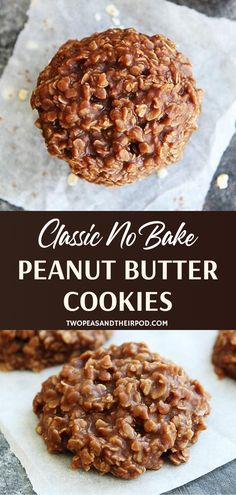 Classic No Bake Cookies are an all-time favorite! This old-fashioned, traditional dessert recipe is easy to make with staple ingredients. You can never go wrong with a delicious blend of chocolate, peanut butter, and oatmeal! Save this and try it! Healthy No Bake Cookies, Easy Cookie Recipes, Sweet Recipes, No Bake Cookie Recipe, Gluten Free No Bake Cookies, Peanut Cookies, Keto Recipes, No Bke Cookies, Peanutbutter No Bake Cookies