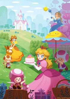 Peach, Toad, Toadette, Perry, Daisy, Toadsworth, Rosalina & Luma in the Peach Castle eating cake with tea.