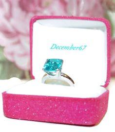 Blue Quartz Ring, Sterling Silver, Paraiba Blue Ring, Square Cushion Gemstone