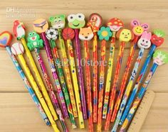 Wholesale Freeship 100 Pieces wooden pencil with eraser cartoon animal flower style novelty office school Gift, Free shipping, $0.5-0.67/Piece | DHgate