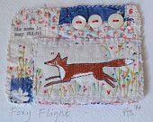 ARTWORK ..MIXED MEDIA hand stitched textured Foxy Flight