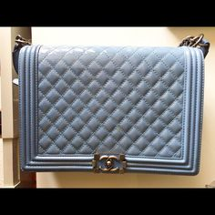 LARGE CHANEL BOY BAG BABY BLUE. LIMITED EDITION COLOR! CHANEL Bags Shoulder Bags