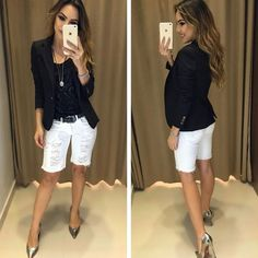 T-Shirt key black bermuda marcia blazer heloisa pr Bermuda Shorts Outfit, Summer Shorts Outfits, Spring Outfits, Mode Outfits, Short Outfits, Casual Outfits, Casual Wear, Denim Fashion, Fashion Outfits