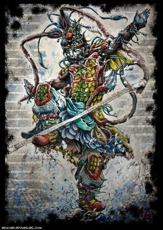 Sun Wukong, also known as the Monkey King, he is a monkey born from a stone who acquires supernatural powers through Taoist practices. After rebelling against heaven and being imprisoned under a mountain by the Buddha, he later accompanies the monk Xuanzang on a journey to retrieve Buddhist sutras from India.