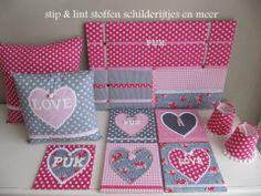 Complete setjes | stip & lint stoffen schilderijtjes en meer kinderkamer accessoires