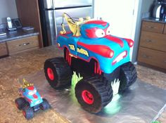 Tormentor (aka Monster Truck Mater) birthday cake made for my 4 year old. Monster Truck Birthday Cake, Monster Truck Party, 3rd Birthday Cakes, Boy Birthday, Monster Trucks, Birthday Ideas, Mater Cake, Truck Cakes, Disney Cars Birthday
