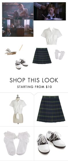 """""""Lolita's school uniform"""" by littlesweetheart123 ❤ liked on Polyvore featuring Bettie Page, French Toast, Pinup Couture and Paper Mate"""