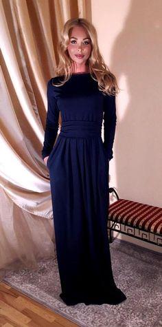 90ead89d7a4 Navy Blue Maxi Dress  Round Neckline Long Sleeves Pockets Sash. Nice Dresses