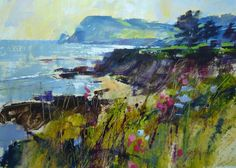 Chris Forsey, Getting to the Point, Prawle, mixed media Painting Frames, Painting Prints, Canvas Prints, Art Prints, Painting Styles, Watercolour Painting, Landscape Art, Landscape Paintings, Seascape Paintings