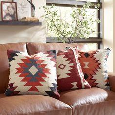 Found it at Birch Lane - Kilim Pillow Cover Collection Modern Southwest Decor, Southwestern Decorating, Southwestern Bedroom Decor, Modern Cabin Decor, Rustic Cabin Decor, Traditional Decorative Pillows, Traditional Furniture, Aztec Pillows, Kilim Pillows