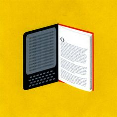"""This great illustration created by Devin Washburn for The York Times Sunday Review, very well describes that electronic and print format are the part of the same story called """"the book""""."""