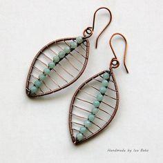 Handmade Amazonite Gemstone Earrings, Wire Wrapped in Copper