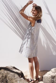madewell sunray shirtdress worn with the arrowsketch cuff + boardwalk sandal.