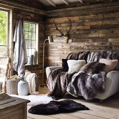 Faux Fur Range House of Fraser House Of Fraser, Home, Cabin Decor, Rustic Living Room, Rustic House, Interior Design, House Interior, Cabin Living, Cabin Interiors