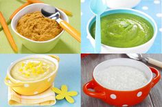 Sample menu for a baby from 4 to 8 months old