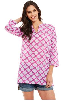 A Kurta is a traditional item of clothing typical of India. We've updated the look with our Classic Robert Roller Rabbit Kurta by giving it a contemporary cut and adorning it with our signature hand beaded accent at the side slit. It's the perfect top for a day at the beach or worn casually over jeans or shorts.
