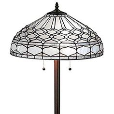 Amora Lighting Tiffany Style AM222FL18 Royal White Floor Lamp 62 Inches Tall