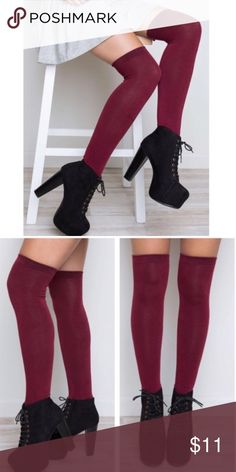 💋JUST IN! Cranberry Red Knee Socks I have 2 pairs of these for $15 each! They can be bundled for the 20% discount. These are brand new with tags and a gorgeous cranberry red color! Twilight Gypsy Collective Accessories Hosiery & Socks