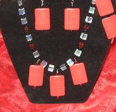 Red Tile  Sqare Necklace with Matching Earrings  Bracelet