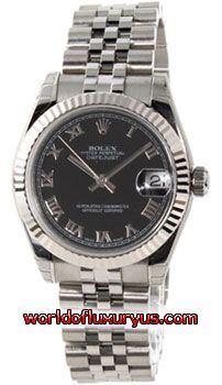 Rolex Oyster Perpetual Datejust Watches. 31mm stainless steel case, 18k white gold fluted bezel, black dial, Roman numerals, and Jubilee bracelet. - See more at: http://www.worldofluxuryus.com/watches/Rolex/Datejust-Lady-31/178274-bkrj/641_755_5037.php#sthash.2c47RftF.dpuf