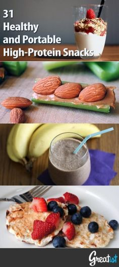 31 Healthy and Portable High-Protein Snacks | Greatist. Working hard on my protein intake ...doing my share daily to deplete the world's supply of Greek yogurt, ha! This could help mix it up.