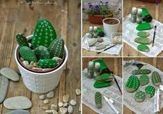 Rock Cactus Garden - This could make a neat fundraiser or gift for nursing home residents. If we used inexpensive clay pots, we could paint those too.