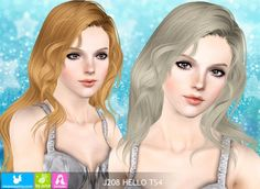 Hello hairstyle by NewSea - Sims 3 Hairs The Sims, Sims 1, Sims 3 Mods, Hair Styles 2014, Long Hair Styles, Sims 3 Cc Finds, Mod Hair, Download Hair, Foto Blog
