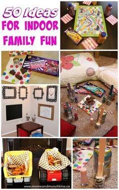 50 Ideas for Indoor Family Fun - activity and game ideas that both adults and kids will find fun. Great for the cold winter season! # indoor activities for adults ideas Indoor Family Fun - 50 Creative Ideas - Moms & Munchkins Indoor Family Activities, Family Fun Games, Family Theme, Family Fun Night, Activities For Kids, Indoor Games, Family Family, Night Kids, Kid Games