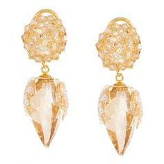 Golden Crystal Drop Earrings by DUBLOS