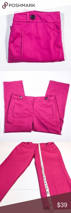 """Ann Taylor LOFT Julie Cropped Pants Fun and fabulous cropped pants in a bright beautiful  pink color! Comfortable fabric that has a smooth chino feel. They're flattering and sharp looking, according to LOFT the Julie fit is the """"perfect fit if your waist is smaller, but your hips are curvier."""" These gorgeous capri pants are preloved in EUC, with no apparent flaws and lots of life left. LOFT Pants Ankle & Cropped"""