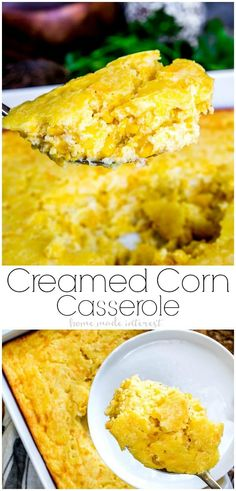 Creamed Corn Casserole is an easy corn casserole recipe made with sweet corn, Jiffy cornbread, eggs, sour cream, and cheese. This baked creamed corn casserole makes a great side dish for dinner and an easy side dish for holidays! via @hmiblog